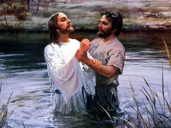 Jesus being baptized by John the Baptist