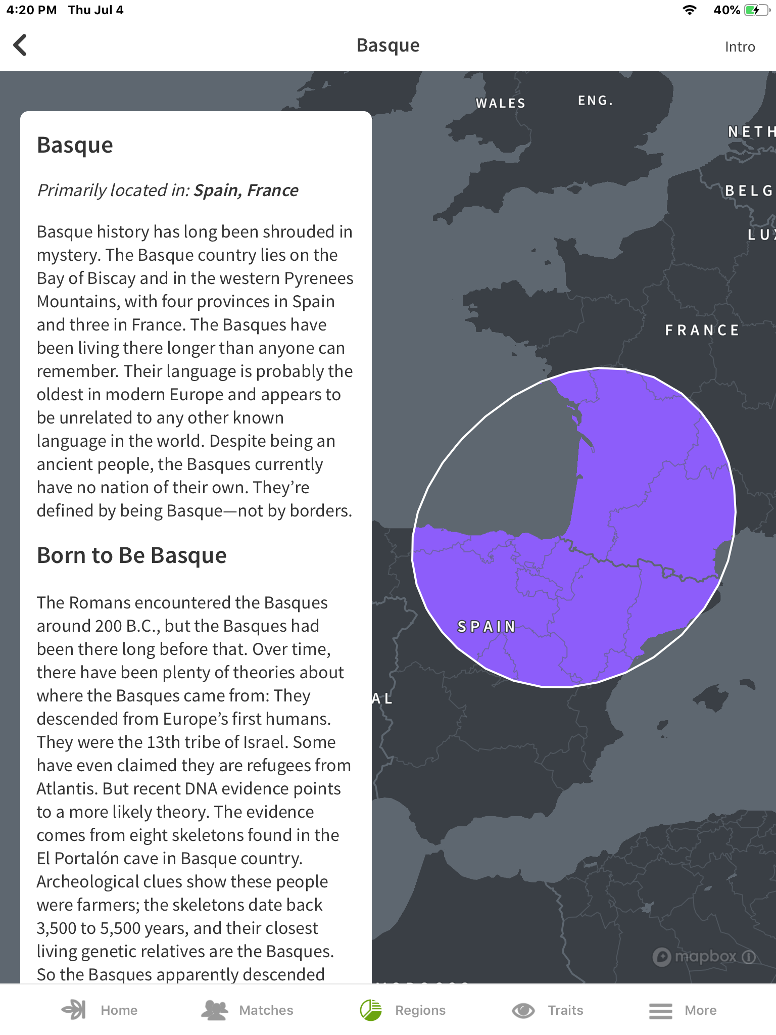The Basque region of Spain and France from Ancestry.com