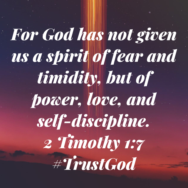 God has not given us a spirit of fear and timidity!