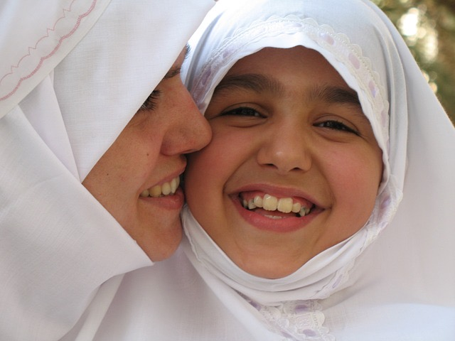 Muslim woman and girl