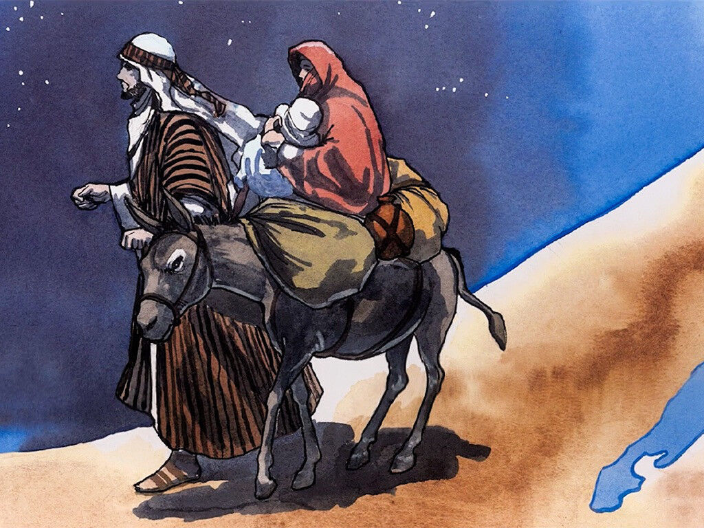 Joseph leads Mary with Baby Jesus away from King Herod's madness to Egypt. Graphic by Good News Productions International via FreeBibleImages.com, (CC BY-NC-ND 4.0)