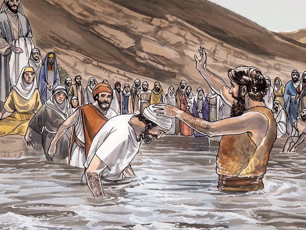 John the Baptist baptizing in the Jordan River. by Good News Productions International from FreeBibleImages.com (CC BY-NC-ND 4.0)