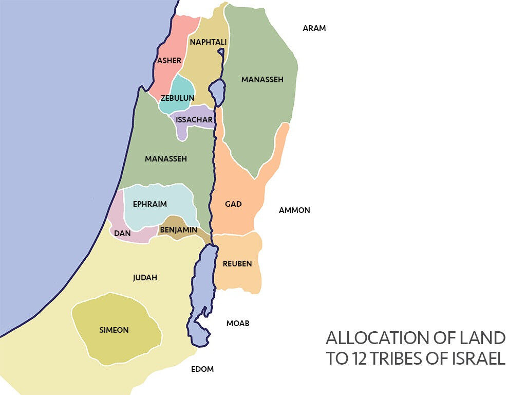 Map of the 12 Tribes of Israel by Sweet Publishing from FreeBibleImages.org, (CC BY-SA 3.0)