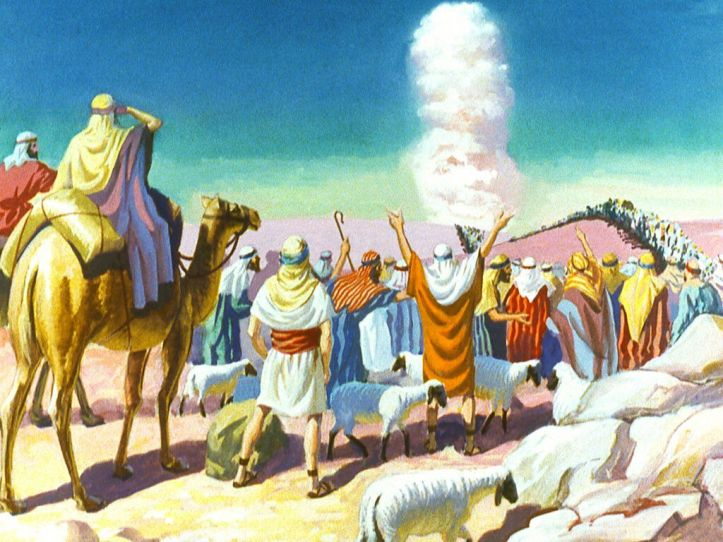 God in a cloud leading the Israelites out of Egypt. Image by Moody Publishers from FreeBibleImages.org