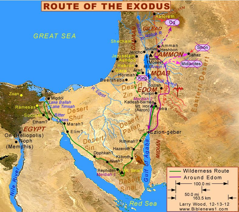 Map of the Israelites route wandering in the desert wilderness.