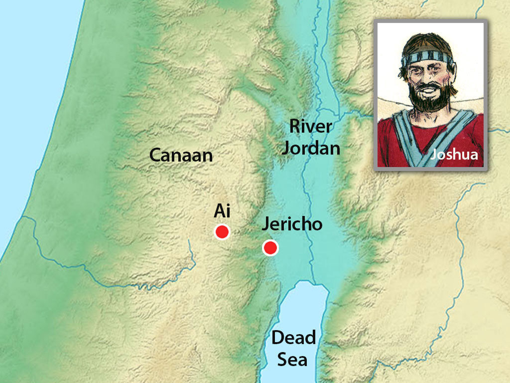 Map of Israel showing Jerico, Ai, Canaan and the Jordan River. Image by Sweet Publishing from FreeBibleImages.org, (CC BY-SA 3.0)