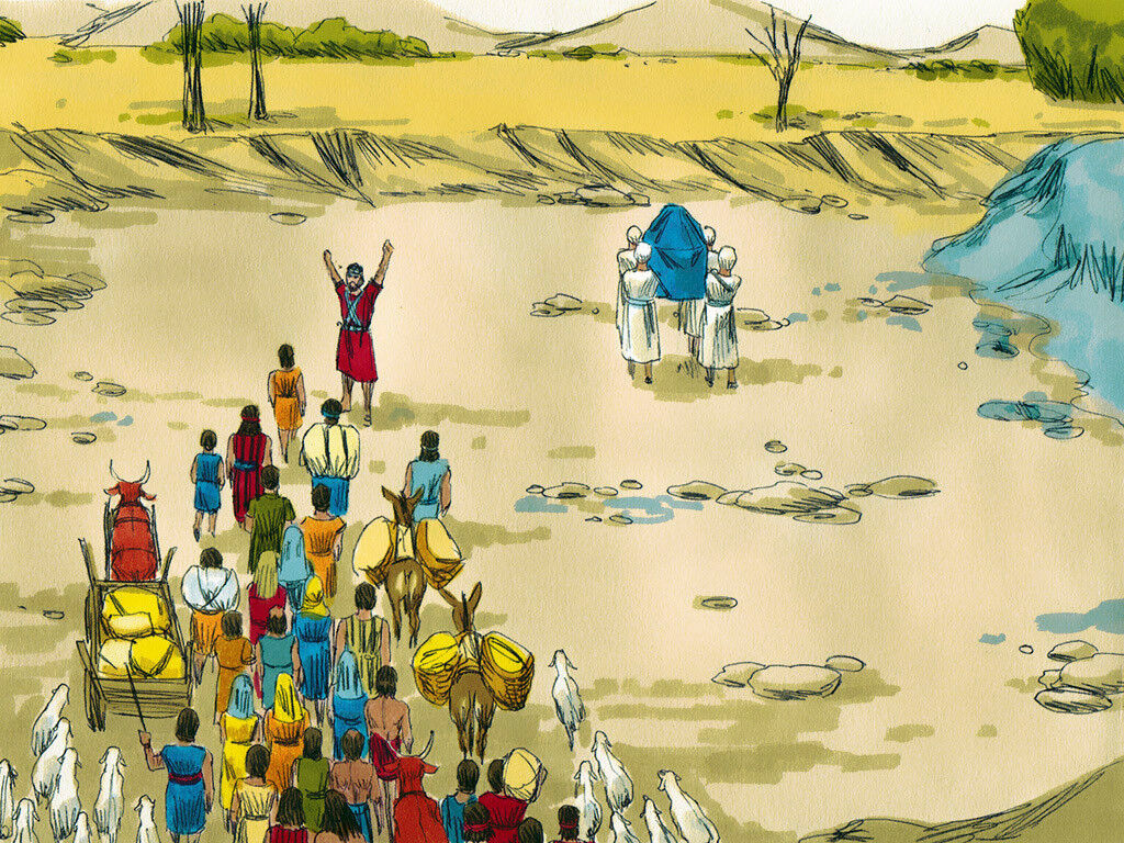 The Israelites crossing the Jordan River as God miraculously holds back the waters. Image by Sweet Publishing from FreeBibleImages.org, (CC BY-SA 3.0)