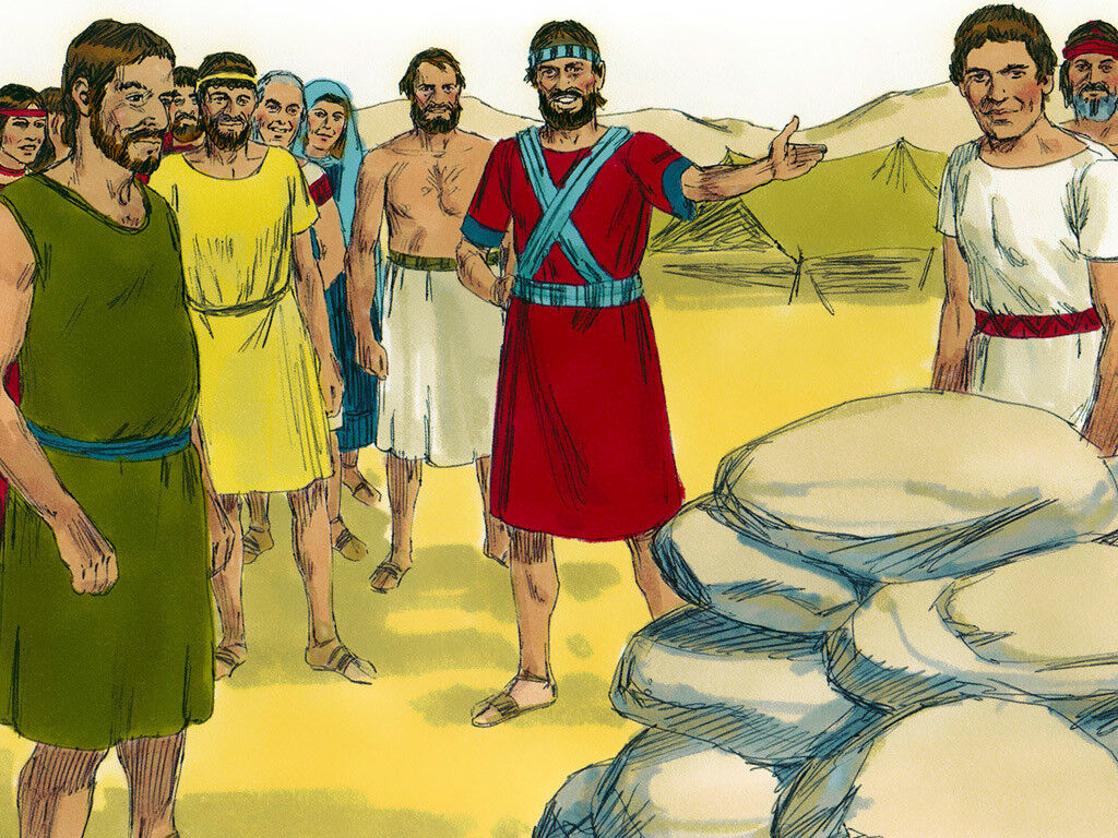 The Israelites build a memorial to commemorate the miracle of the crossing of the Jordan River. Image by Sweet Publishing from FreeBibleImages.org, (CC BY-SA 3.0)