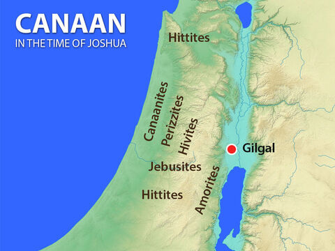 Map of Canaan in the time of Joshua showing all the pagan peoples.