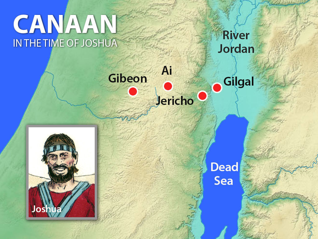 Map of Canann at the time of Joshua, showing Gibeon, Ai, Jericho and Gilgal.