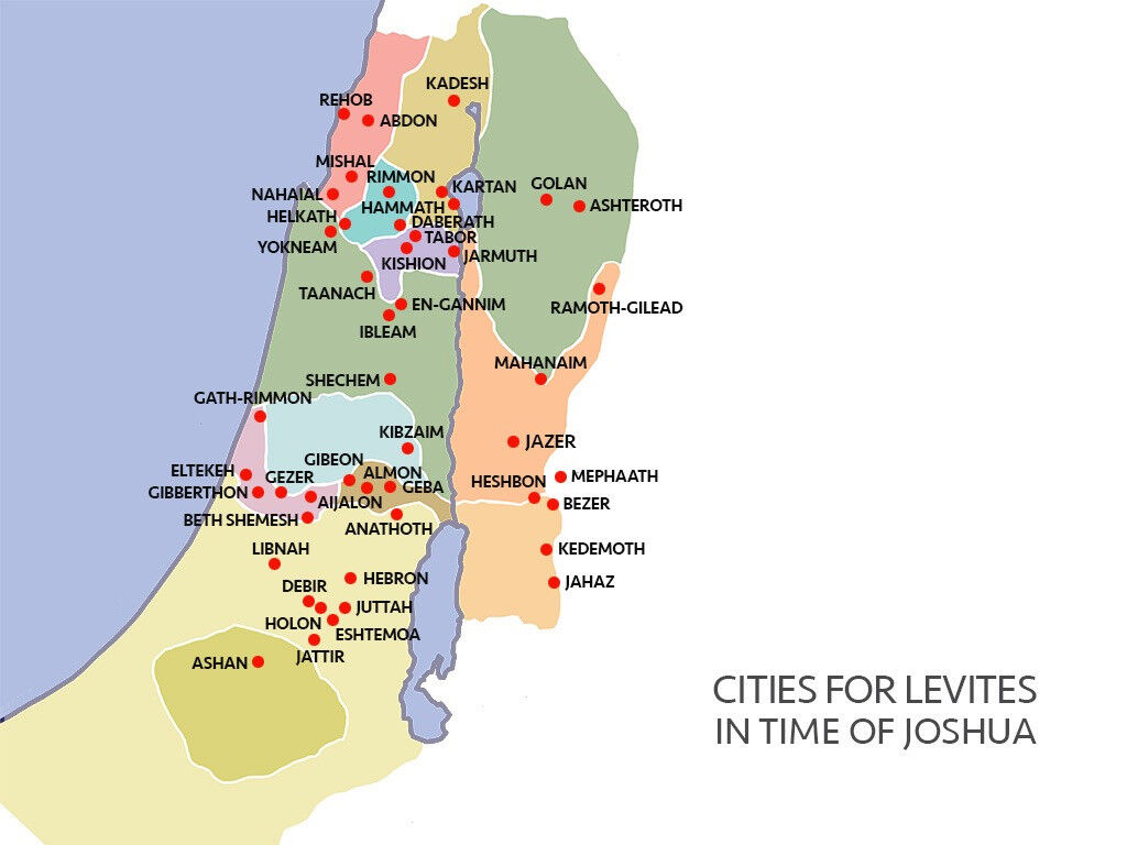 Levitical cities map - Israel at the time of Joshua.
