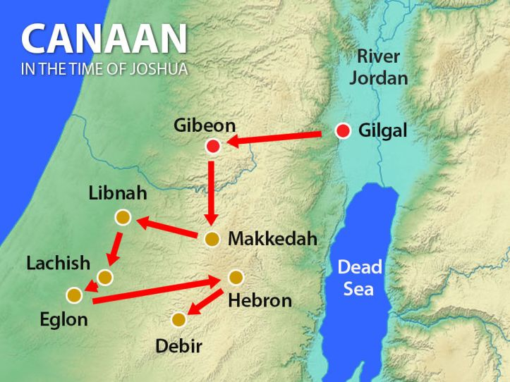 Map of Canaan and the cities that Joshua and the Israelites conquered.