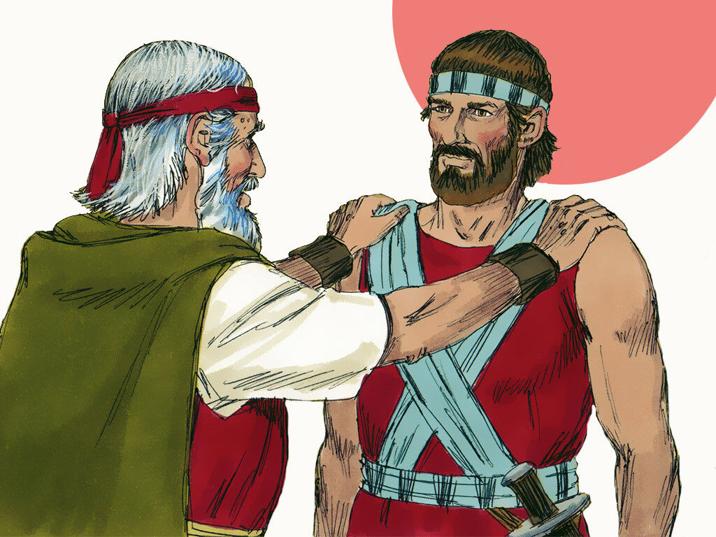 Moses laying hands on Joshua, the new leader of Israel.