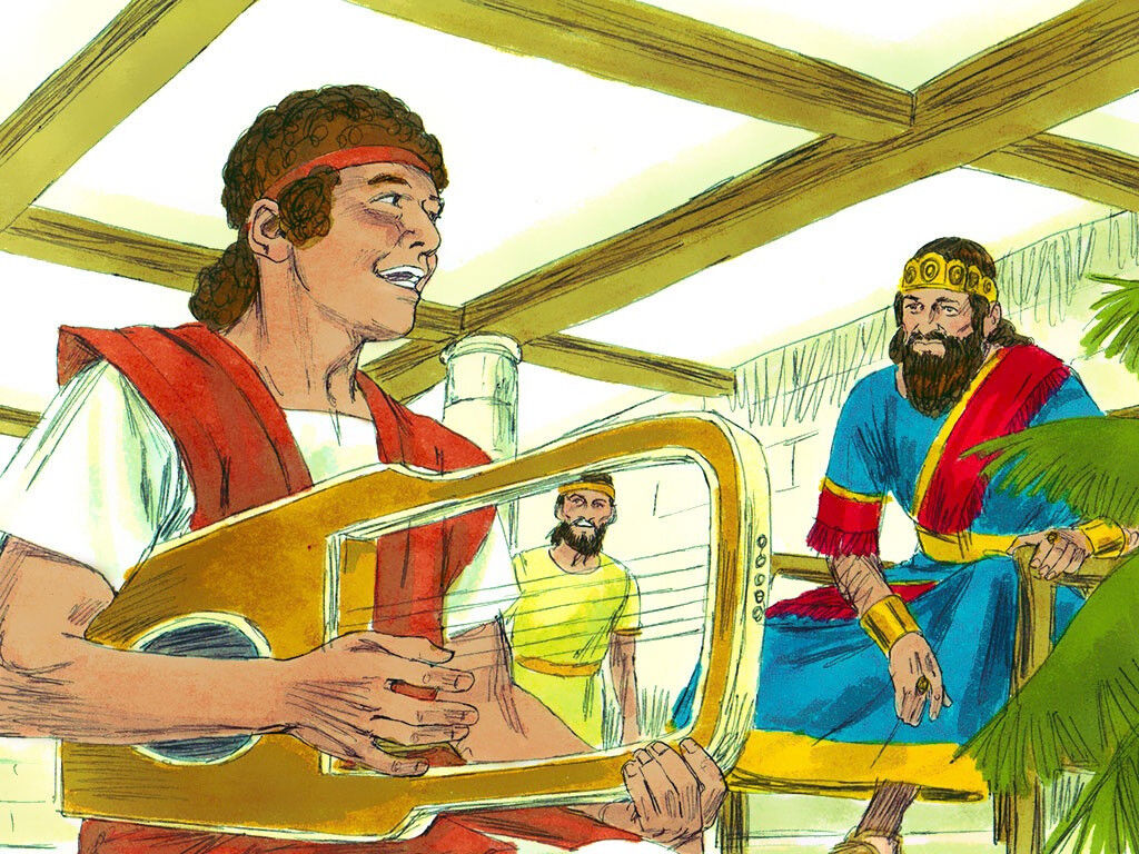 David plays for King Saul. Image by Sweet Publishing from FreeBibleImages.org, (CC BY-SA 3.0)