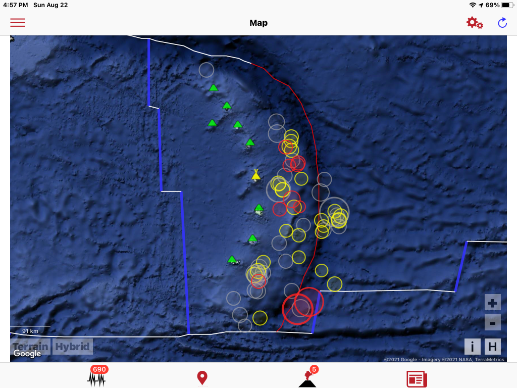 7 days of earthquakes, South Sandwich Islands with volcanoes. Volcano Discovery App