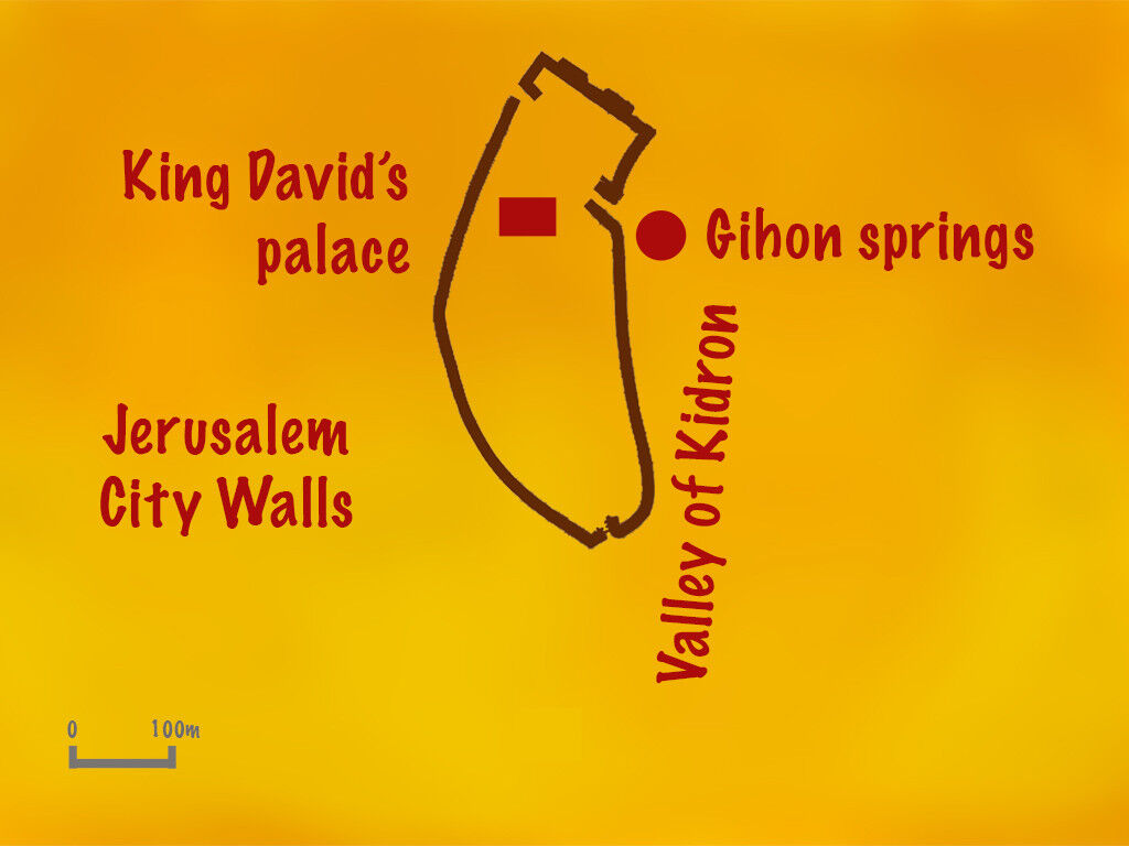 Map of Jerusalem at the time of King David showing the Gihon Springs.