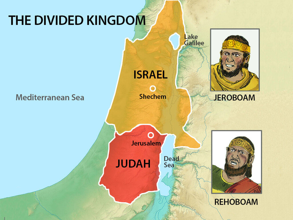 Map of the divided kingdom of Israel at the time of 1 Kings. Israel in the north and Judah in the south. Image by Sweet Publishing from FreeBibleImages.org, (CC BY-SA 3.0)