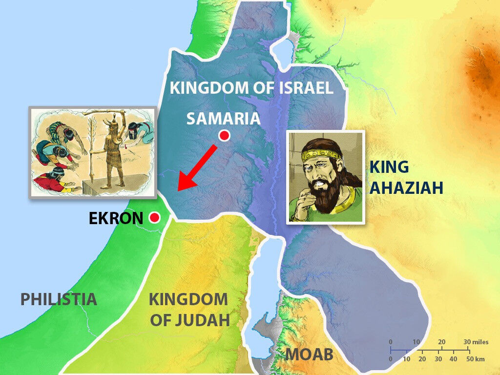Map of Israel during the reign of King Ahaziah. image by Sweet Publishing from FreeBibleImages.org, (CC BY-SA 3.0)